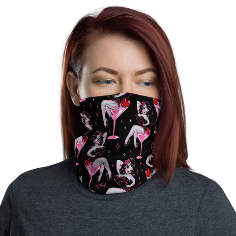 Cherry Martini Girl • Neck Gaiter Face Mask