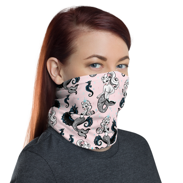 Pearla Mermaid on Pink • Neck Gaiter Face Mask