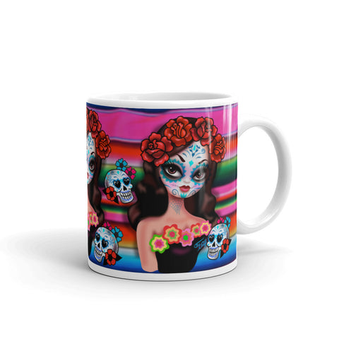 Day of the Dead Girl on Sarape • Mug