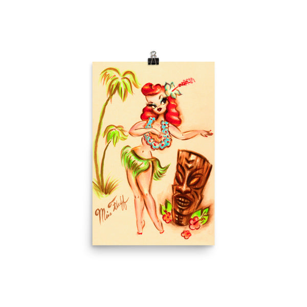 Redhead Hula Girl with Tiki • Art Print