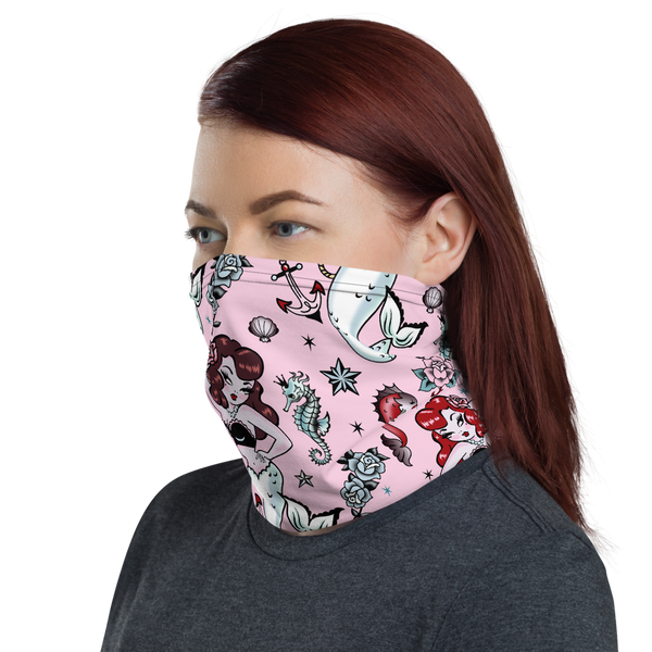 Molly Mermaid on Pink • Neck Gaiter Face Mask