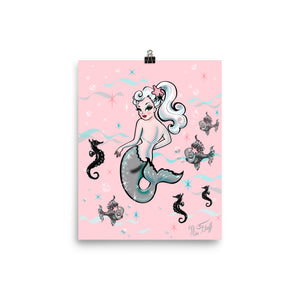 Pearla the Mermaid on Pink • Art Print