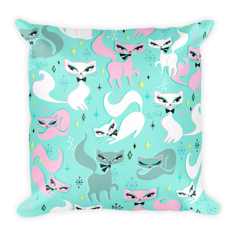 Swanky Kittens on Mint • Square Pillow
