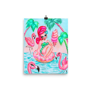 Pinup Doll on Donut Floatie with Flamingos • Art Print