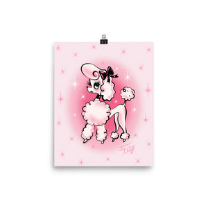 Posh Poodle on Pink • Art Print