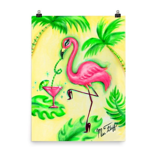 Flamingo With Pink Martini • Art Print