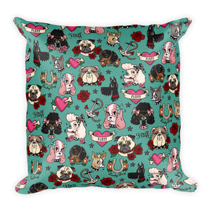 Tattoo Pooch on Teal • Square Pillow