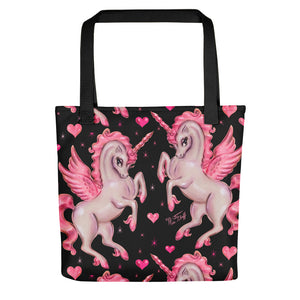 Unicorn Pegasus on Black • Tote Bag