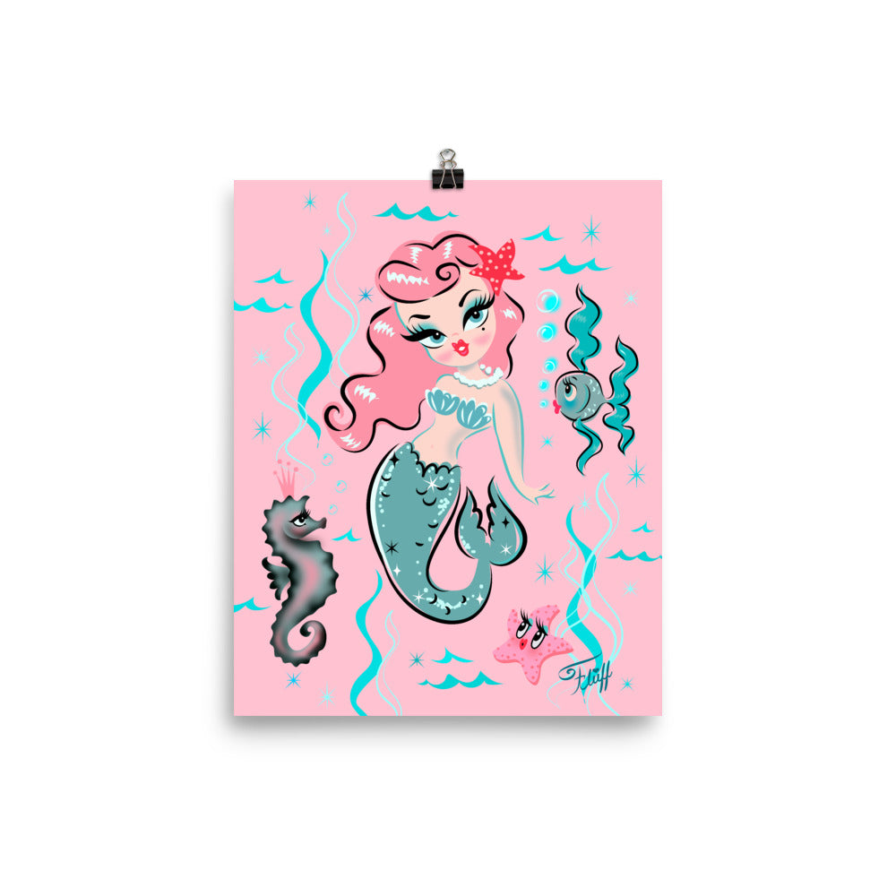Babydoll Mermaid with Pink Hair • Art Print