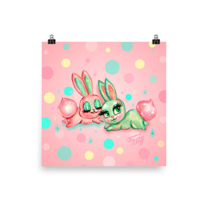 Bunnies and Polka Dots • Art Print