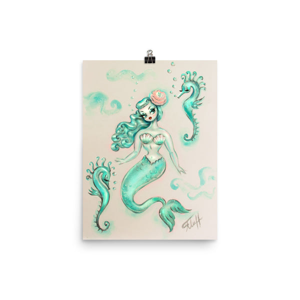 Mint Mermaid with Seahorses • Art Print