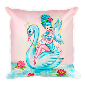 Blue Swan Fairy • Square Pillow