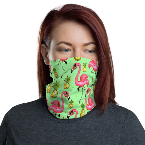Flamingos and Pineapples • Neck Gaiter Face Mask