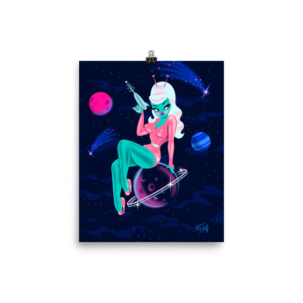 Alien Girl on Saturn • Art Print