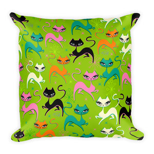 Prancing Kittens on Lime • Square Pillow