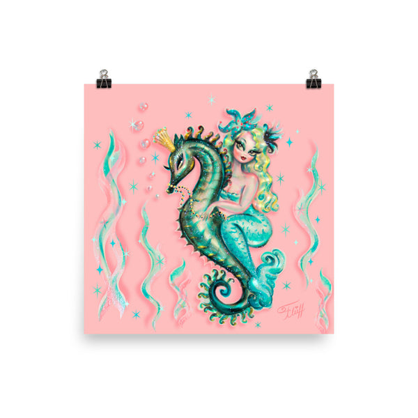 Blue Mermaid Riding a Seahorse Prince • Art Print
