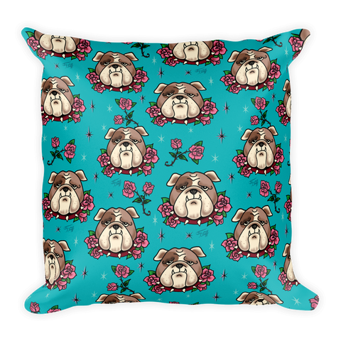 Bulldogs and Roses • Square Pillow