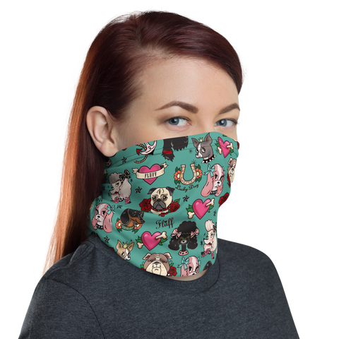 Tattoo Pooch Teal • Neck Gaiter Face Mask