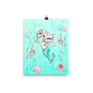 Merkitten with Pearls • Art Print