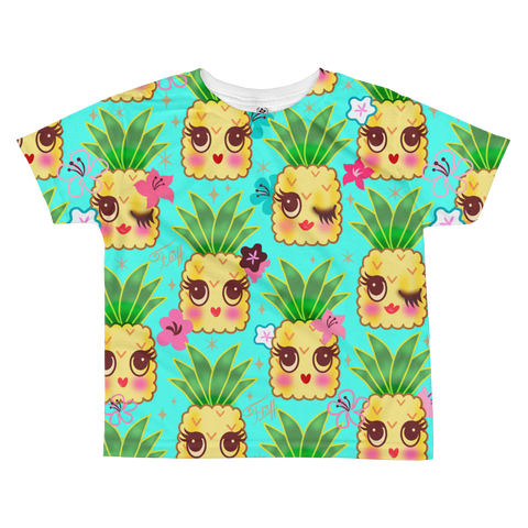 Happy Kawaii Cute Pineapples on Aqua • Toddler All-over Print T-shirt