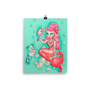 Coral Babydoll Mermaid with Mirror • Art Print