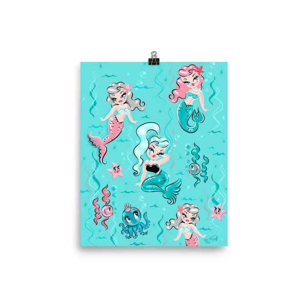 Babydoll Mermaids on Aqua • Art Print