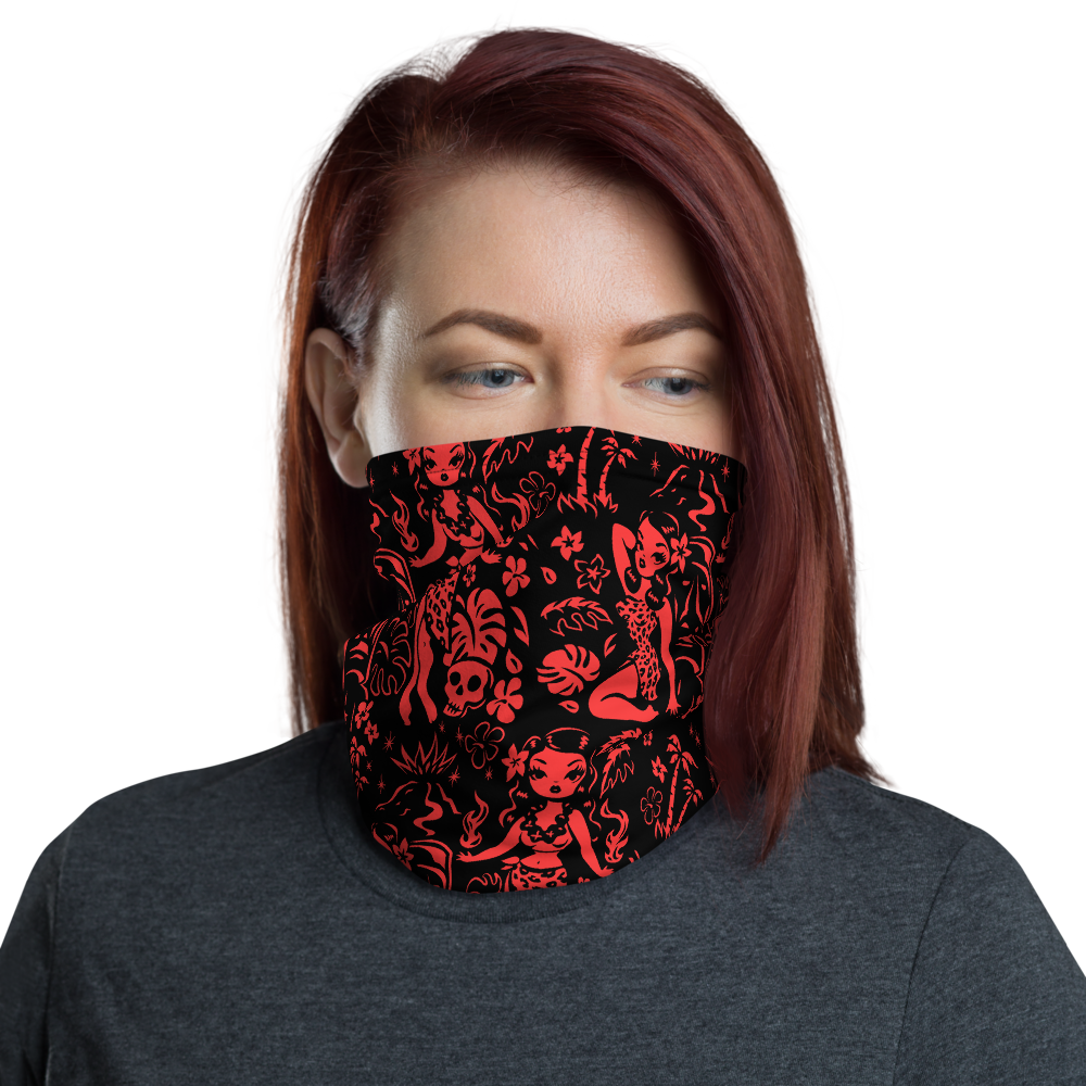 Tiki Temptress Red and Black • Neck Gaiter Face Mask
