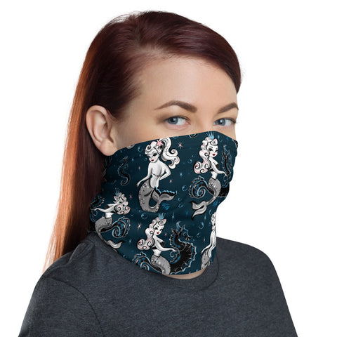 Pearla on Deep Blue • Neck Gaiter Face Mask