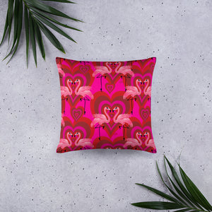 Flamingo Love Pattern • Throw Pillow