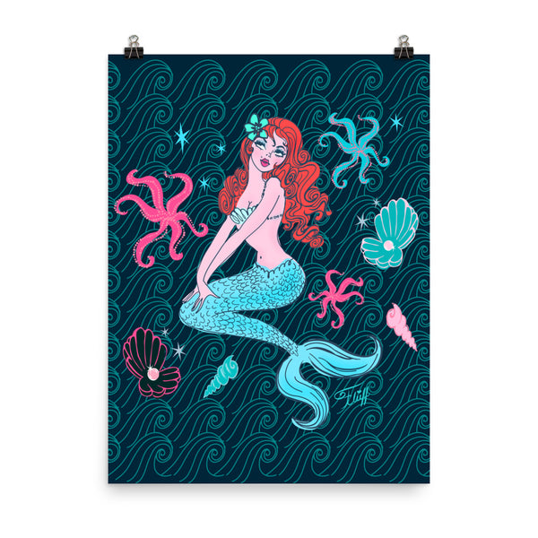 Pink Pearl Beach Mermaid Dark Blue • Art Print
