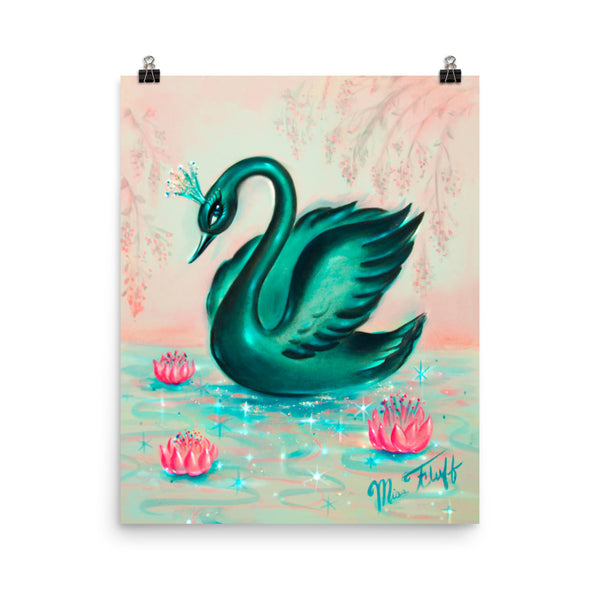 Black Swan with Tiara • Art Print