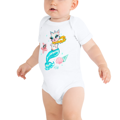 Merkitten with Lei and Starfish • Baby Onesie
