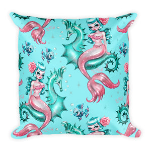 Mysterious Mermaid on Aqua • Square Pillow