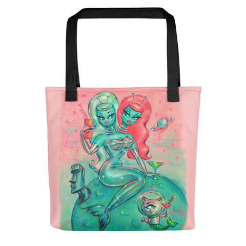 Two Headed Alien Mermaid with Cyclops Kitty • Tote Bag
