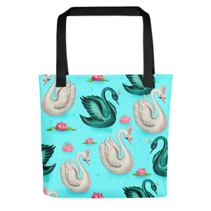 Swans with Tiaras on Aqua • Tote bag