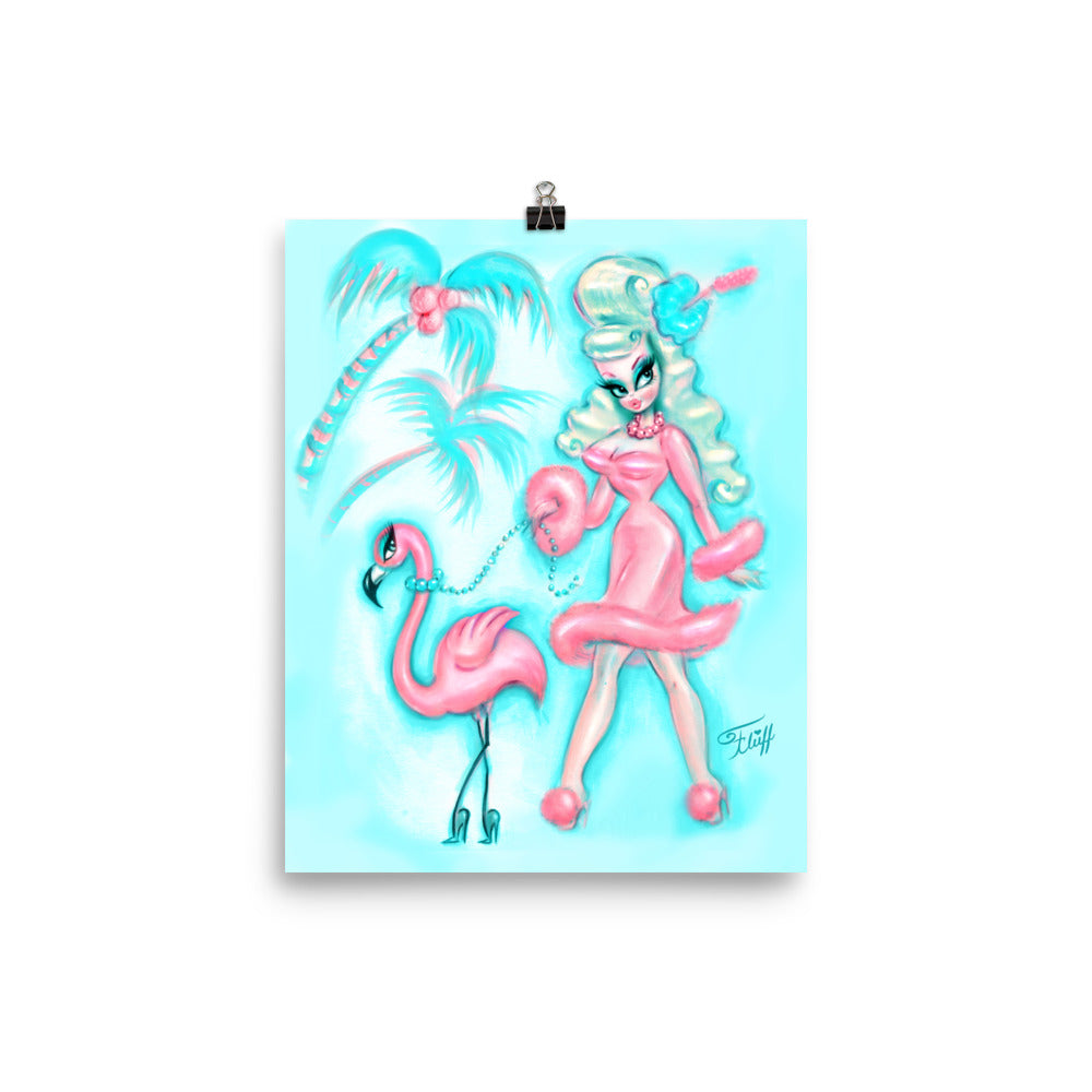 Palm Springs Glamour Doll Walking a Flamingo • Art Print