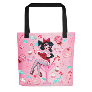 Candy Cane Martini Girl • Tote Bag