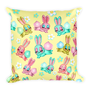 Bunnies and Daisies • Square Pillow