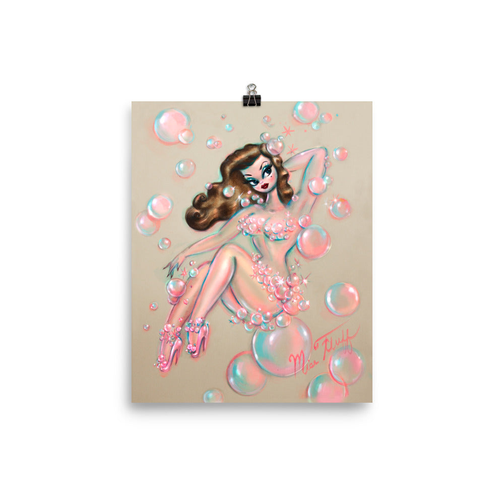 Brunette Bubble Pin Up Girl • Art Print