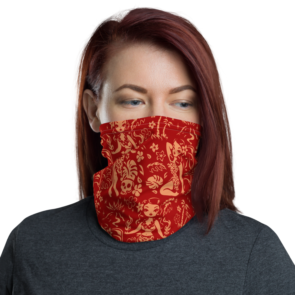 Tiki Temptress Red and Gold • Neck Gaiter Face Mask