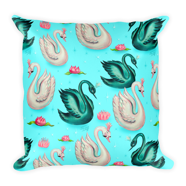 Swans with Tiaras on Aqua • Square Pillow