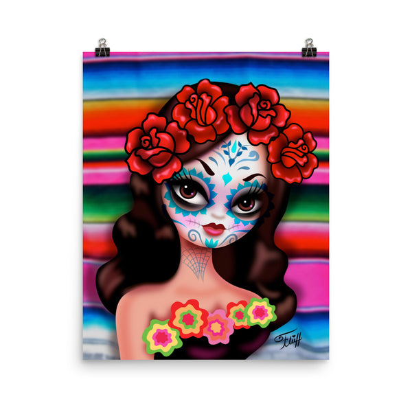 Day of the Dead Girl with Roses • Art Print