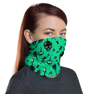 Elements of a Noir Boudoir Green• Neck Gaiter Face Mask
