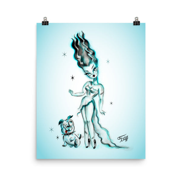 Bride of Frankenstein with Igor Bulldog • Art Print