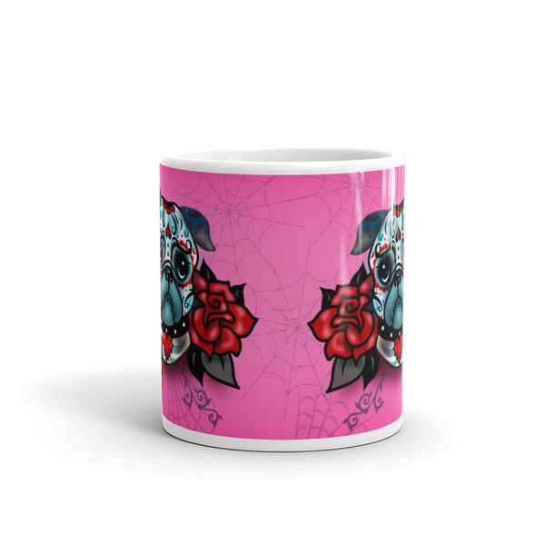 Sugar Skull Pug With Roses on Hot Pink • Mug