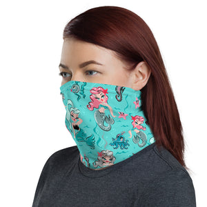 Babydoll Mermaids on Aqua • Neck Gaiter Face Mask