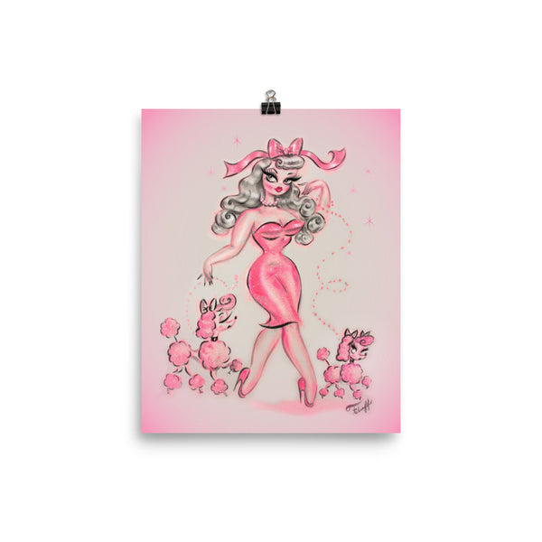 Pinup in Pink with Poodles • Art Print