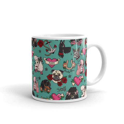 Tattoo Pooch on Teal • Mug