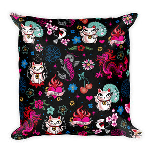 Lucky Kitty • Square Pillow