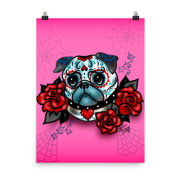 Sugar Skull Pug With Roses on Hot Pink • Art Print